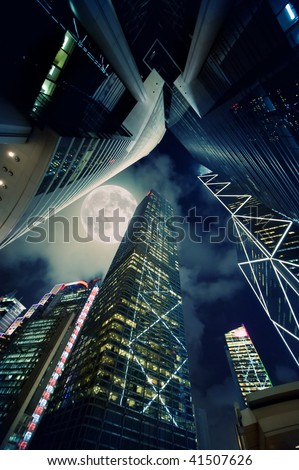 Modern skyscrapers at night time