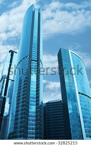 Modern skyscrapers business centre in Moscow, Russia. Tint Blue