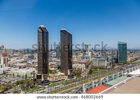 Modern skyscrapers in the skyline of San Diego