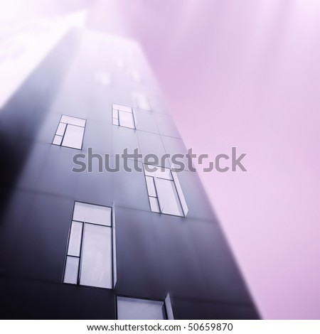 Modern skyscrapers isolated on grey. - stock photo