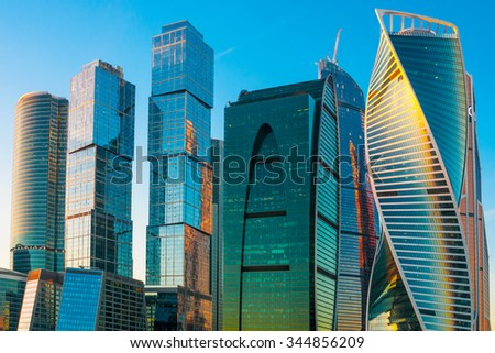 Modern skyscrapers of Moscow city, Russia - stock photo