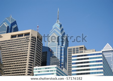Modern skyscrapers of the Philadelphia skyline in City Center. - stock photo