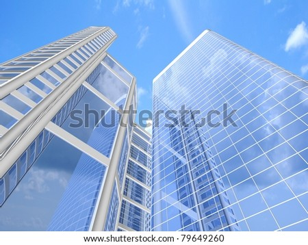 Modern skyscrapers on cloudscape background - stock photo
