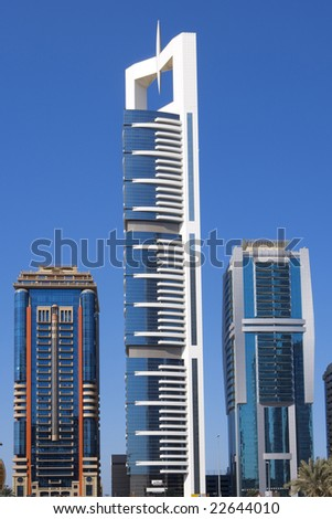 Modern Skyscrapers, Sheikh-Zayed-Road in Dubai - stock photo