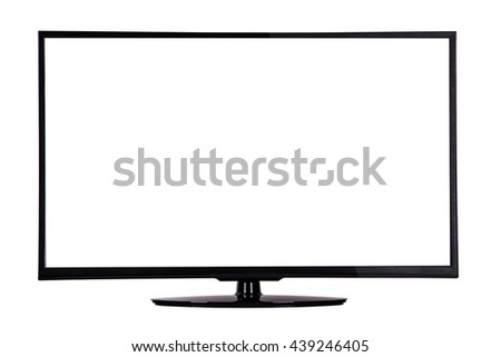 modern slim plasma TV on a black stand isolated on a white background, is deployed to the viewer