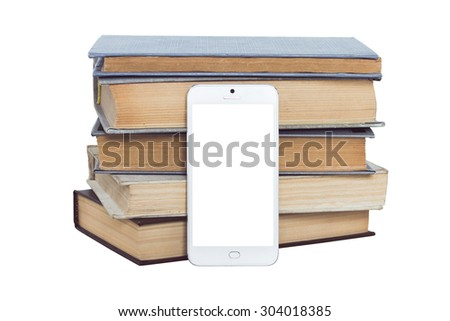 Modern smart phone on the background of old books - the concept of time and modern technology - stock photo