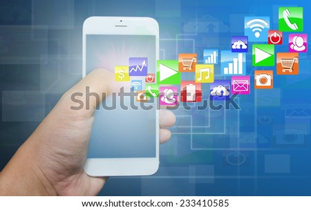 Modern smart phone with application pop up touch screen.  - stock photo