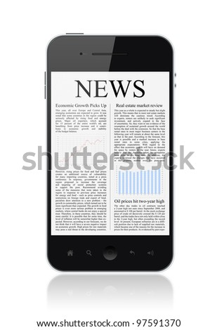 Modern smart phone with business news article isolated on white. - stock photo