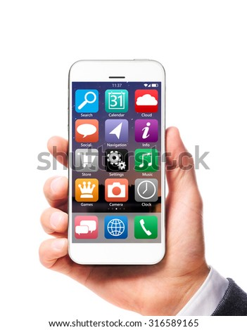 modern smartphone in businessman hand isolated on white background - stock photo