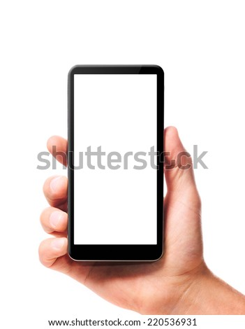 modern smartphone in male hand isolated on white background - stock photo