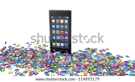 Modern smartphone with a large number of icons or apps scattered around in front of the phone. Note to reviewer: Smartphone and icon graphics are designed by the contributor. - stock photo