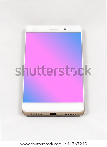 Modern smartphone with blank purple screen, lies on the surface, isolated on white background