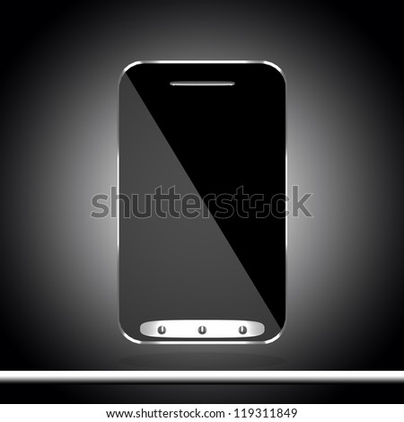 Modern smartphone with blank screen isolated
