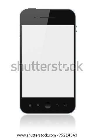 Modern smartphone with blank screen isolated on white. Include clipping path for phone and screen. - stock photo