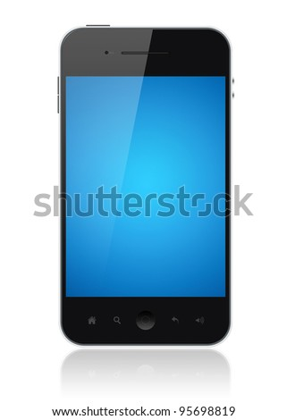 Modern smartphone with blue screen isolated on white. Include clipping path for phone and screen. - stock photo