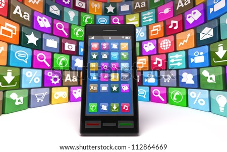 Modern smartphone with icons, isolated on white background. Note to reviewer: Smartphone and icon graphics are designed by the contributor. - stock photo