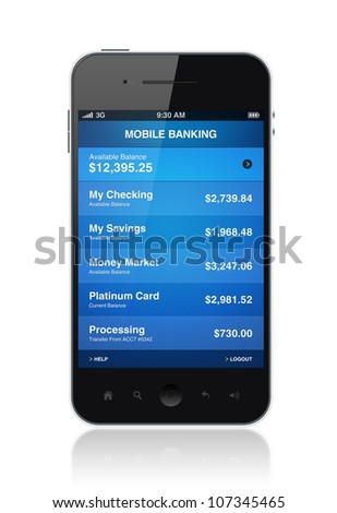 Modern smartphone with mobile electronic banking application on a screen. Isolated on white. - stock photo