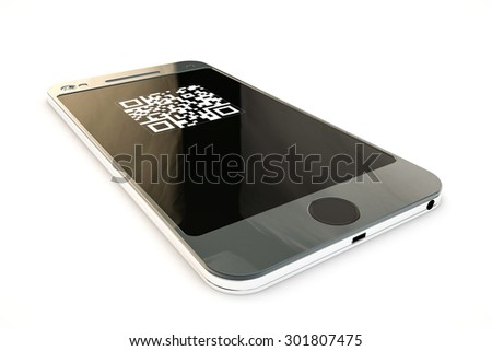 modern smartphone with qr code on screen - stock photo