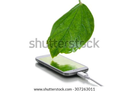 modern smartphone with screensaver and usb cable on a white background - stock photo