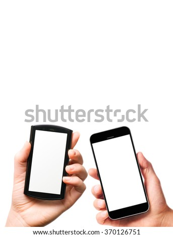 modern smartphones with blank screens in male and female hands isolated on white background