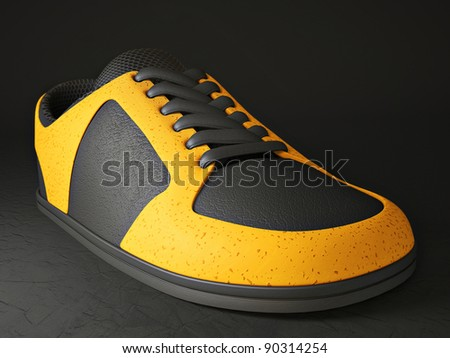 modern sneakers isolated on a black background