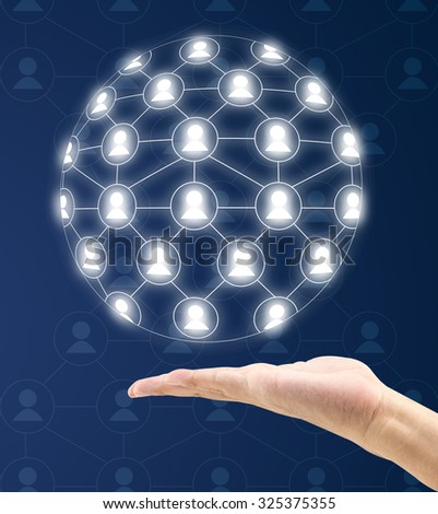 modern social network on hand a virtual background, business concept - stock photo