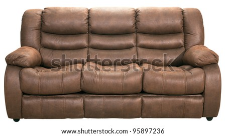 Modern sofa bed furniture isolated on white with clipping path included - stock photo