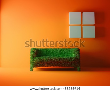 Modern sofa covered with bright green grass. Healthy lifestyle concept. - stock photo