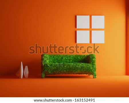 Modern sofa covered with bright green grass. Healthy lifestyle concept. (3d rendered. ) - stock photo