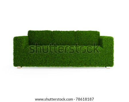 Modern sofa covered with bright green grass. Healthy lifestyle concept. 3d rendered. Isolated on white. - stock photo