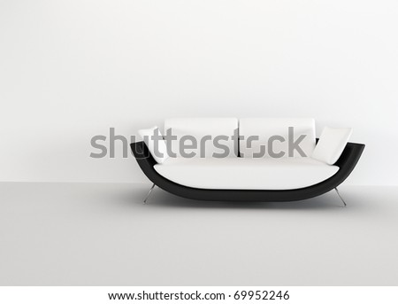 Modern sofa in in a bright empty living room - rendering. minimalism interior. - stock photo