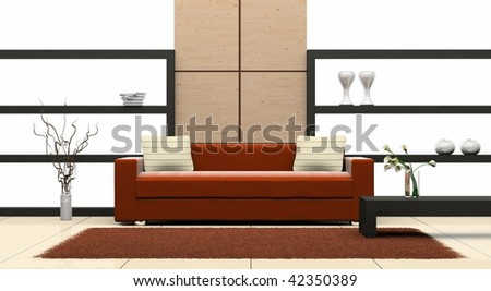modern sofa  in the  room