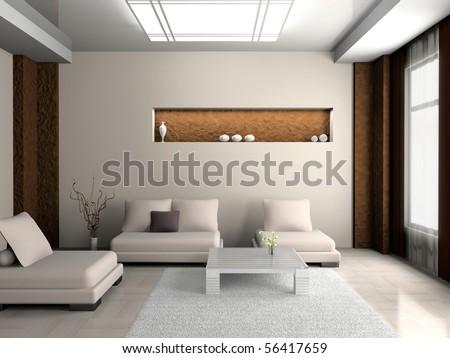 modern sofa  in the  room - stock photo
