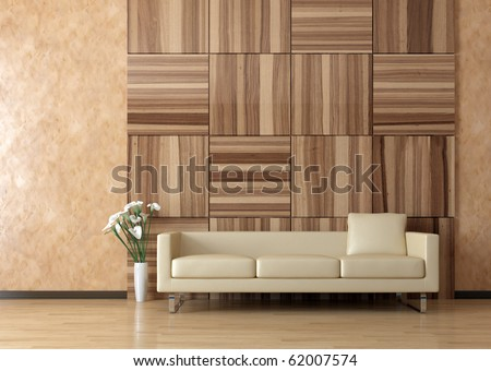 Modern sofa interior on venetian stucco wall - stock photo