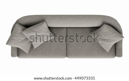 Modern  sofa  isolated on white background. top view - stock photo