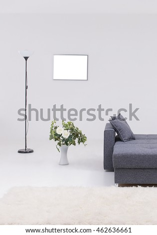 modern sofa living room with grey wall and frame