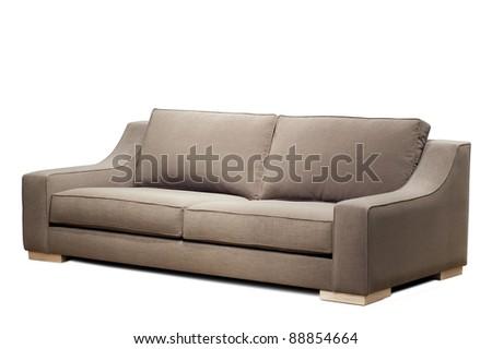 modern sofa on white background - stock photo