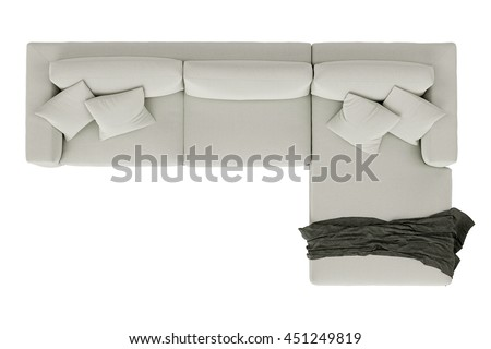 Modern sofa white fabric with draped fabric isolated on white background , top view - stock photo