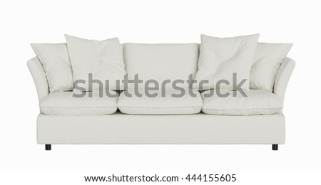modern sofa white ivory fabric isolated on white background
