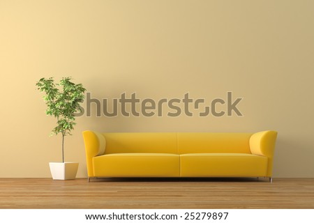 Modern sofa with bonsai tree  render - stock photo