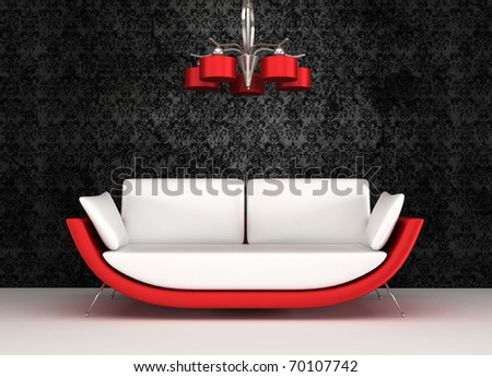 Modern sofa with chandelier in luxurious interior - stock photo
