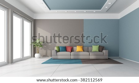 Modern sofa with colorful cushion in a large living room - 3D Rendering - stock photo