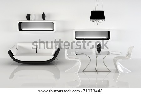 Modern sofa with decoration in minimalism interior. white black Apartment - stock photo