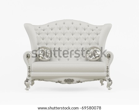 Modern sofa with decorative pillows isolated on white background - stock photo