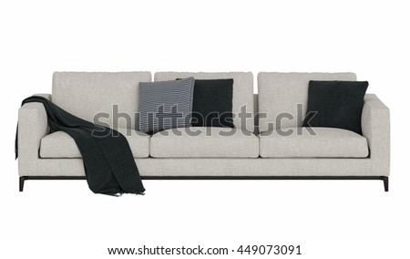 Modern sofa with fabric draped isolated on white background - stock photo