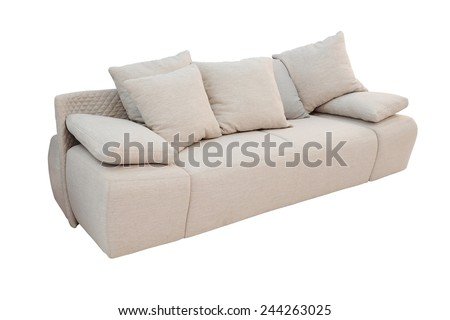 modern sofa with lots of pillows isolated under the white background