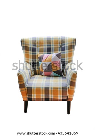 Modern sofa with pillow isolated on white background