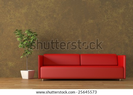 Modern sofa with plant render