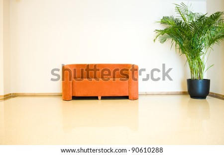 Modern sofa with plant render - stock photo