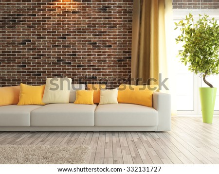 Modern Sofa With Red Brick Wall Interior Design 3d Rendering
